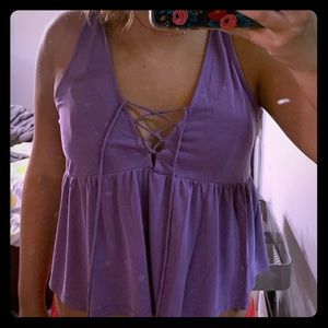 lace up, v-neck tank top! worn only once,no damage